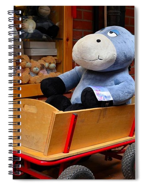 Stuffed Donkey Toy In Wooden Barrow Cart Spiral Notebook