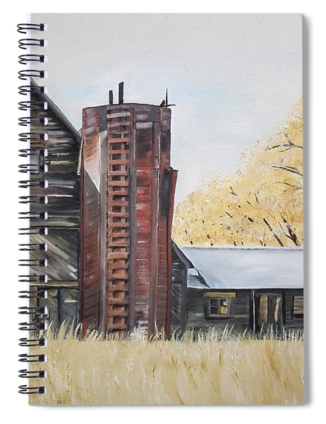 Spiral Notebook featuring the painting Golden Aged Barn -washington - Red Silo  by Jan Dappen