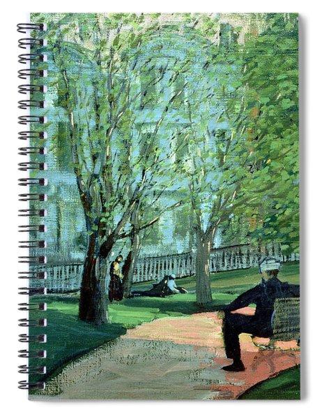Summer Day Boston Public Garden Spiral Notebook by George Luks