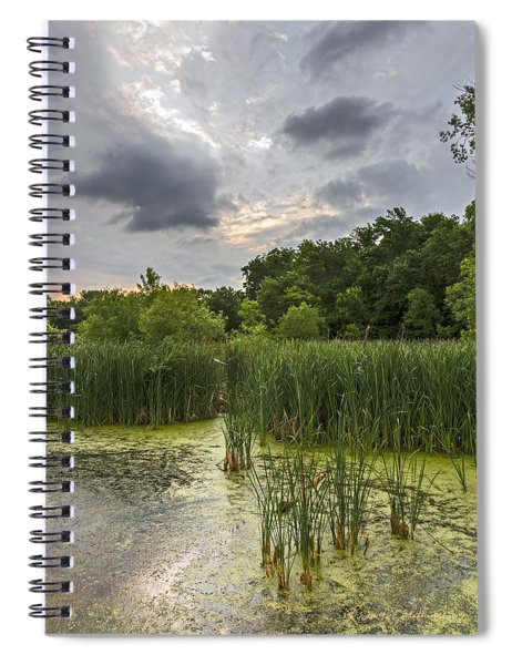 Spiral Notebook featuring the photograph Summer Evening Clouds by Edward Peterson