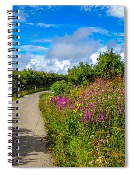 Summer Flowers On Irish Country Road Spiral Notebook