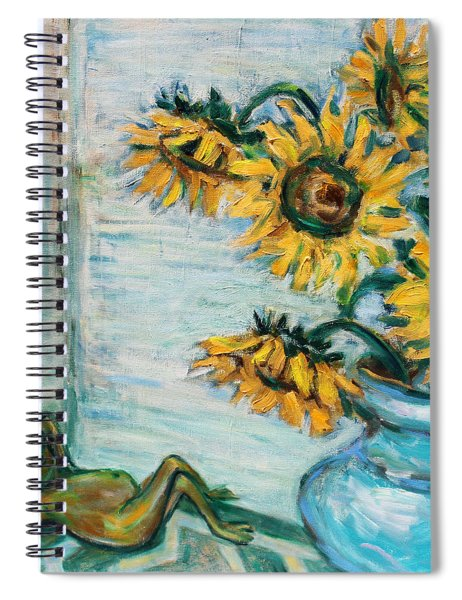 Sunflowers And Frog Spiral Notebook