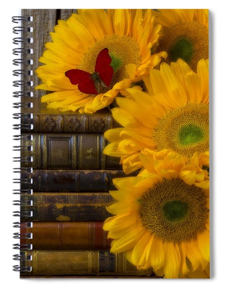 Sunflowers And Old Books Spiral Notebook