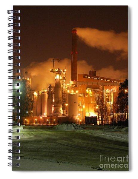 Sunila Pulp Mill By Winter Night Spiral Notebook