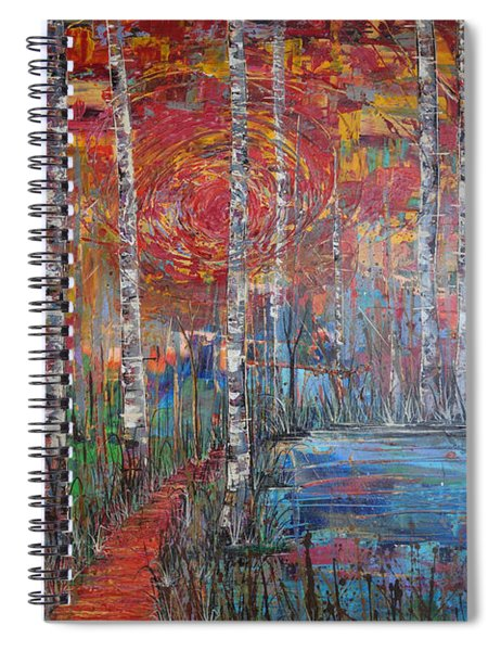 Sunlit Birch Pathway Spiral Notebook