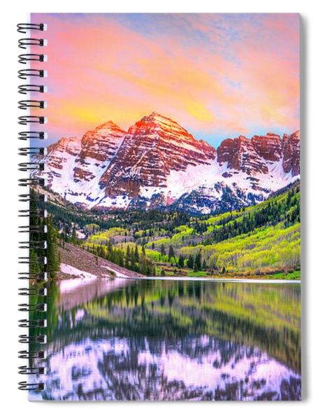 Sunset At Maroon Bells And Maroon Lake Aspen Co Spiral Notebook