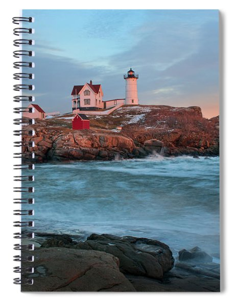 Sunset At Nubble Lighthouse Spiral Notebook