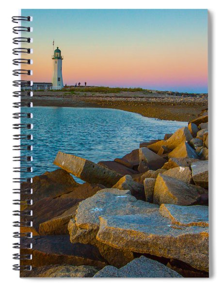 Sunset At Old Scituate Lighthouse Spiral Notebook