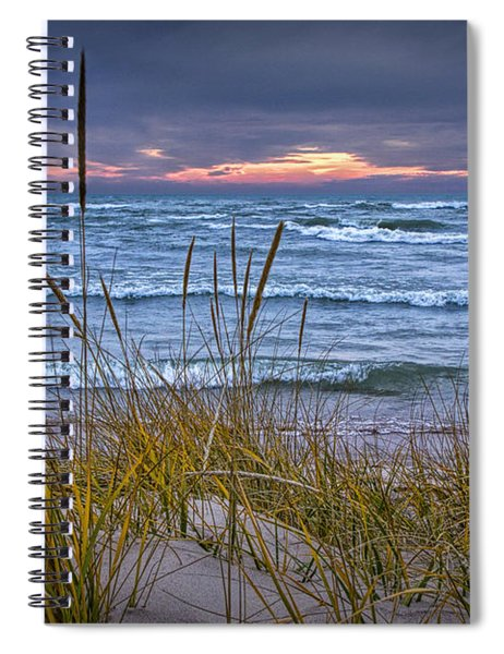 Sunset On The Beach At Lake Michigan With Dune Grass Spiral Notebook