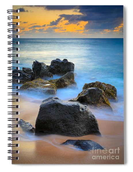 Sunset Beach Rocks Spiral Notebook