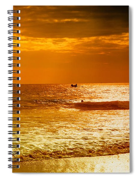 sunset in gold and red at the Hikkaduwa beach Spiral Notebook