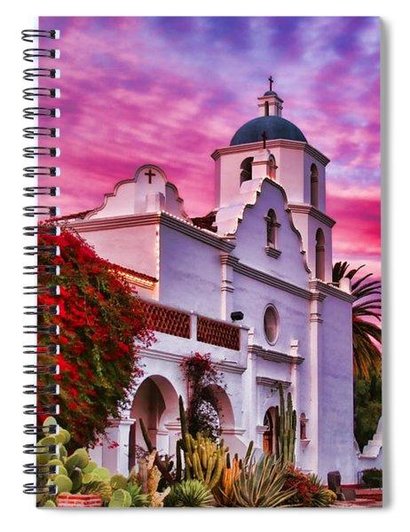 Sunset Mission San Luis Rey De Francia By Diana Sainz Spiral Notebook