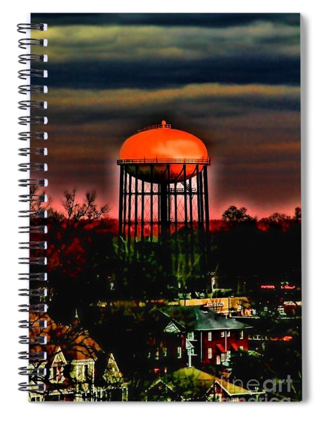 Sunset On A Charlotte Water Tower By Diana Sainz Spiral Notebook