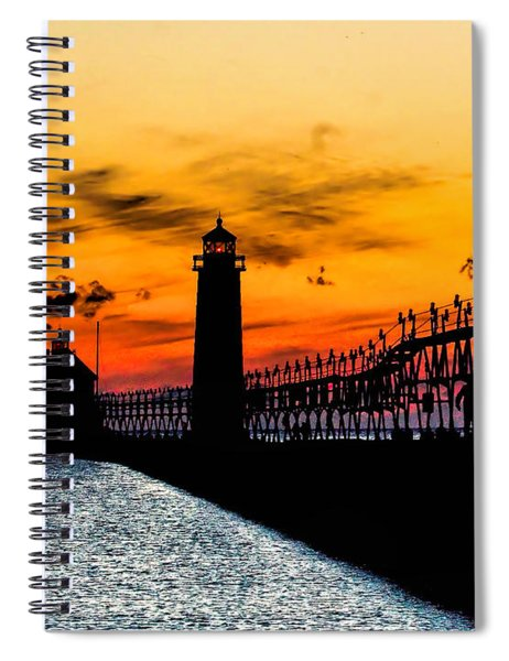 Sunset Walking On Grand Haven Pier Spiral Notebook