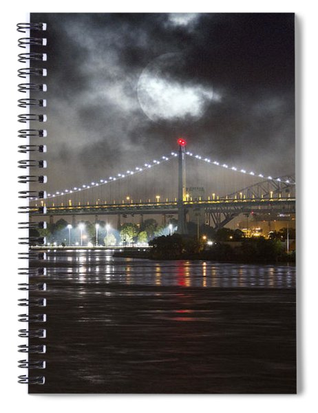 Super Moon And Triboro Bridge Spiral Notebook