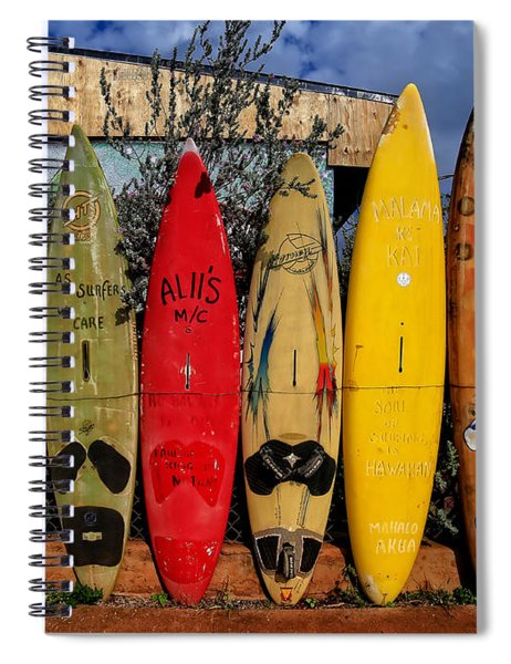 Surf Board Fence Maui Hawaii Spiral Notebook