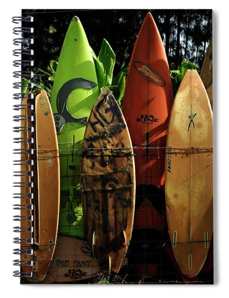 Surfboard Fence 4 Spiral Notebook