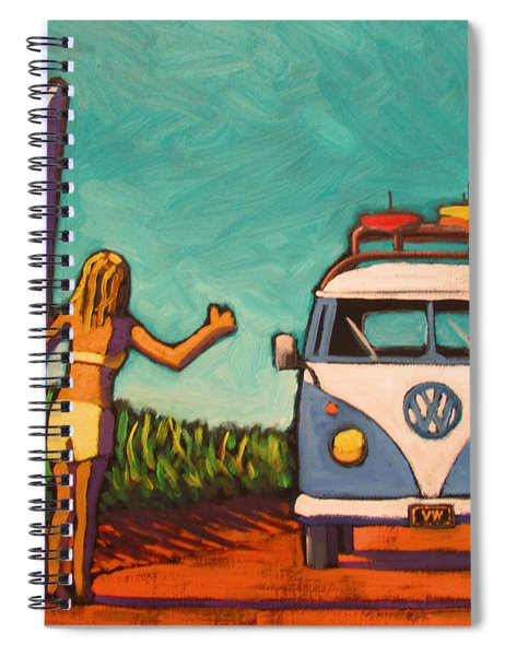 Surfer Girl And Vw Bus Spiral Notebook