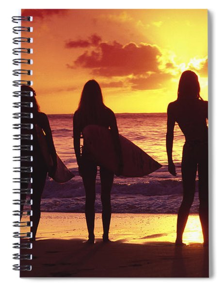 Surfer Girl Silhouettes Spiral Notebook