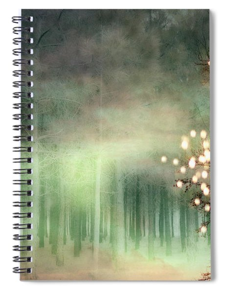 Surreal Sparkling Fantasy Nature - Green Sparkling Lights Trees Forest Woodlands Spiral Notebook
