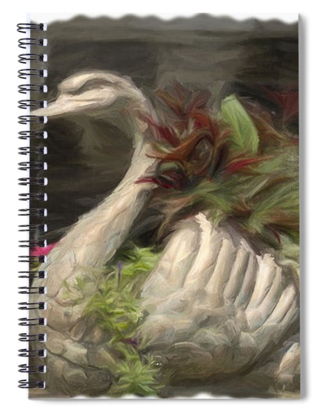 Swan With Beautiful Flowers Spiral Notebook