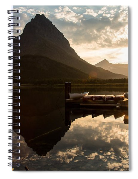Swiftcurrent Lake Boats Reflection And Flare Spiral Notebook