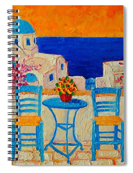 Table For Two In Santorini Greece Spiral Notebook