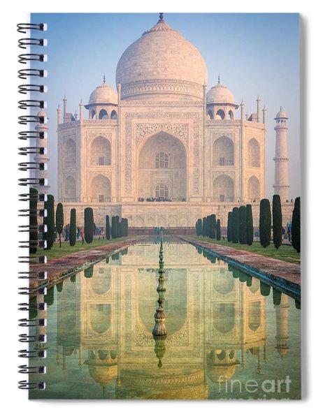 Taj Mahal Dawn Reflection Spiral Notebook by Inge Johnsson