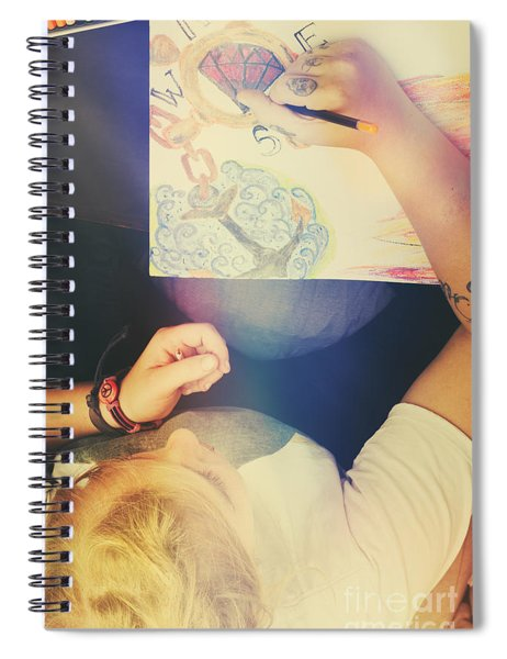 Talented Artist Woman Sketching Out Masterpiece Spiral Notebook