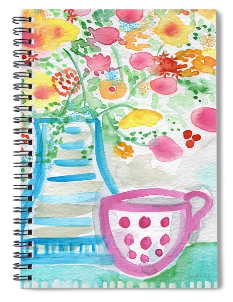 Tea And Fresh Flowers- Whimsical Floral Painting Spiral Notebook