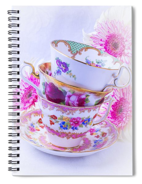 Tea Cups With Pink Mums Spiral Notebook