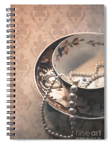 Teacup And Pearls Spiral Notebook