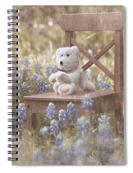 Teddy Bear And Texas Bluebonnets Spiral Notebook