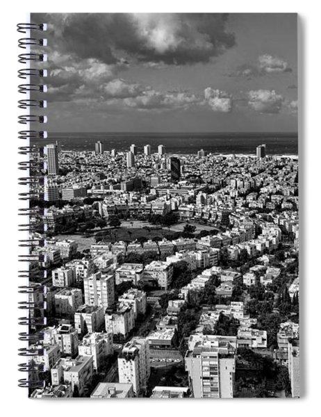 Tel Aviv Center Black And White Spiral Notebook