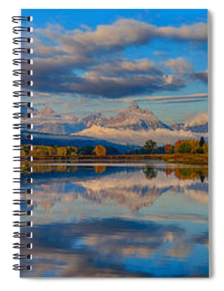 Teton Panoramic Reflections At Oxbow Bend Spiral Notebook