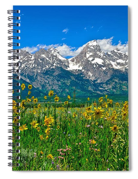 Teton Peaks And Flowers Spiral Notebook