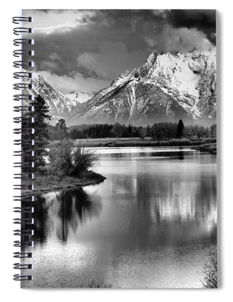 Tetons In Black And White Spiral Notebook