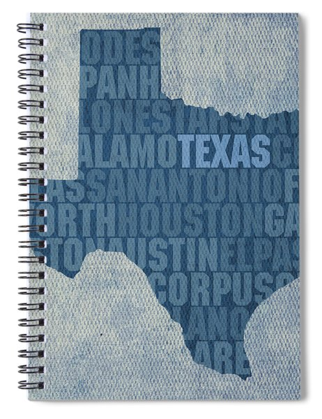 Texas Word Art State Map On Canvas Spiral Notebook