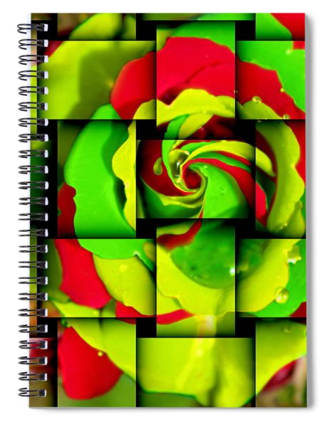 Textile Of Green Rose Spiral Notebook