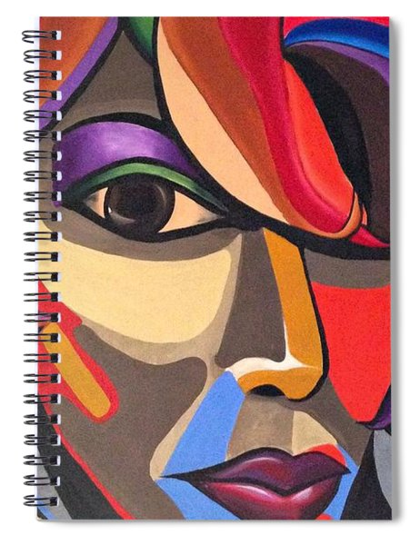Abstract Woman Art, Abstract Face Art Acrylic Painting Spiral Notebook