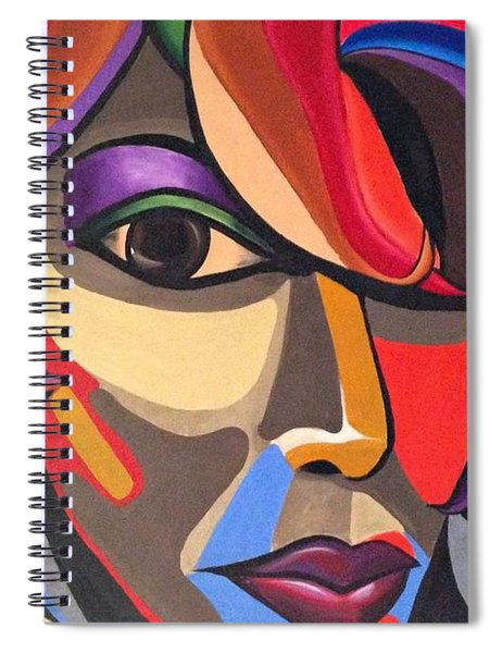 Colorful Abstract Woman Face Art, Acrylic Painting, 3d Illusion Spiral Notebook