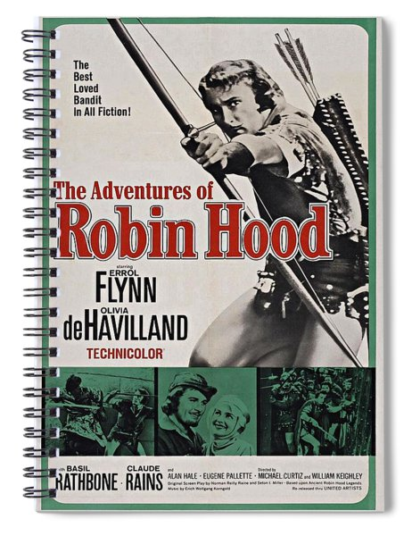 Spiral Notebook featuring the photograph The Adventures Of Robin Hood B by Movie Poster Prints