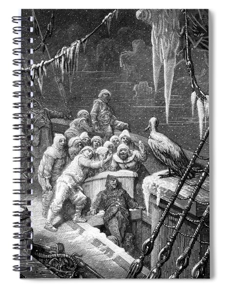The Albatross Being Fed By The Sailors On The The Ship Marooned In The Frozen Seas Of Antartica Spiral Notebook