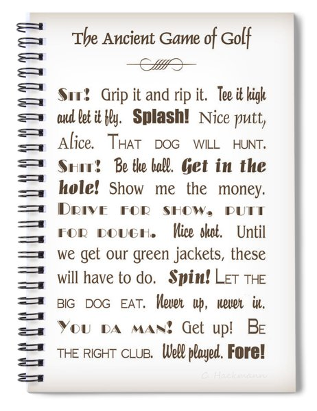 The Ancient Game Of Golf - Sepia Spiral Notebook