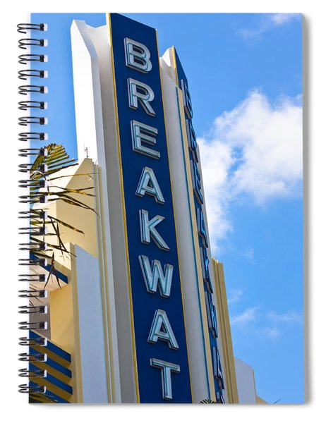 The Breakwater Neon Sign Spiral Notebook by Ed Gleichman