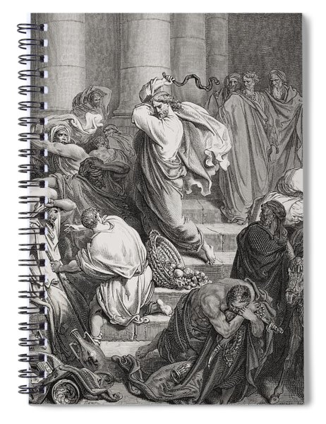 The Buyers And Sellers Driven Out Of The Temple Spiral Notebook