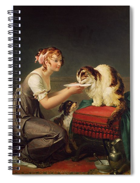 The Cats Lunch Oil On Canvas Spiral Notebook