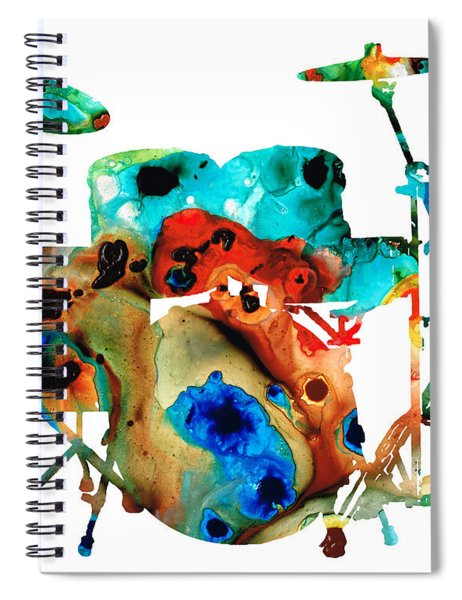 The Drums - Music Art By Sharon Cummings Spiral Notebook