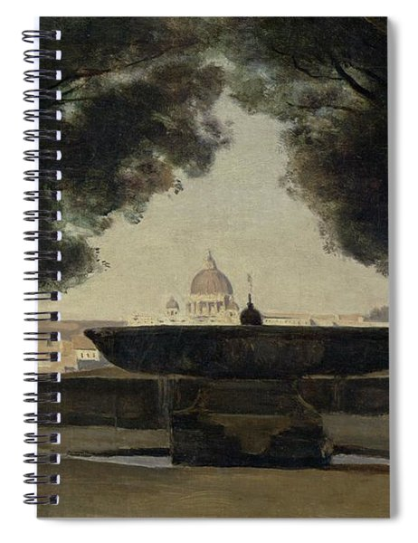 The Fountain Of The French Academy In Rome, 1826-27 Oil On Canvas Spiral Notebook