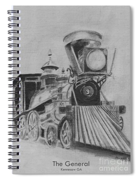 Spiral Notebook featuring the drawing The General - Train - Big Shanty Kennesaw Ga by Jan Dappen